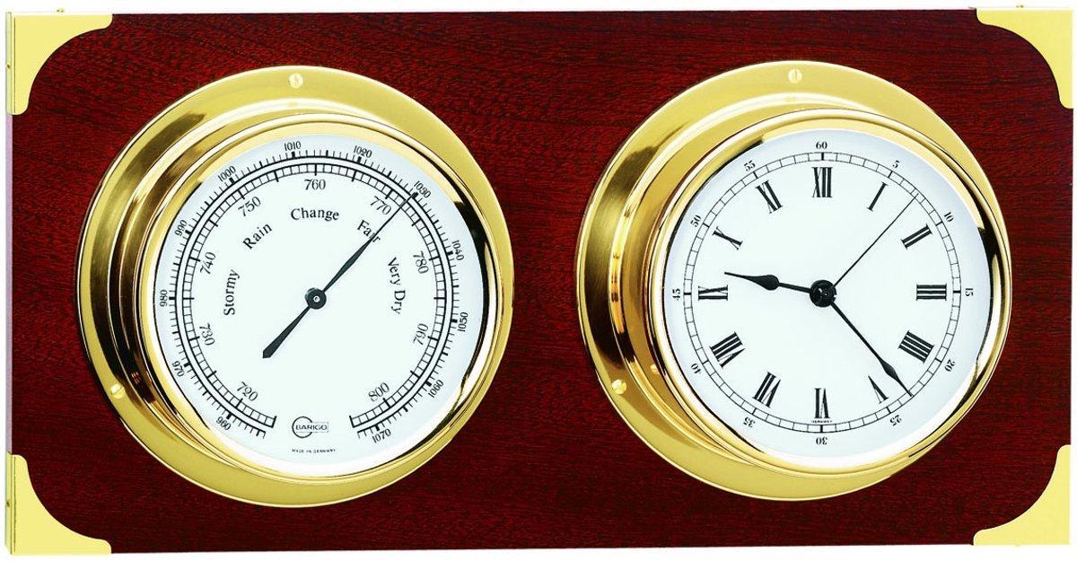 Barigo 2084ms weerstation (barometer en klok) mahoniehout messing kopen