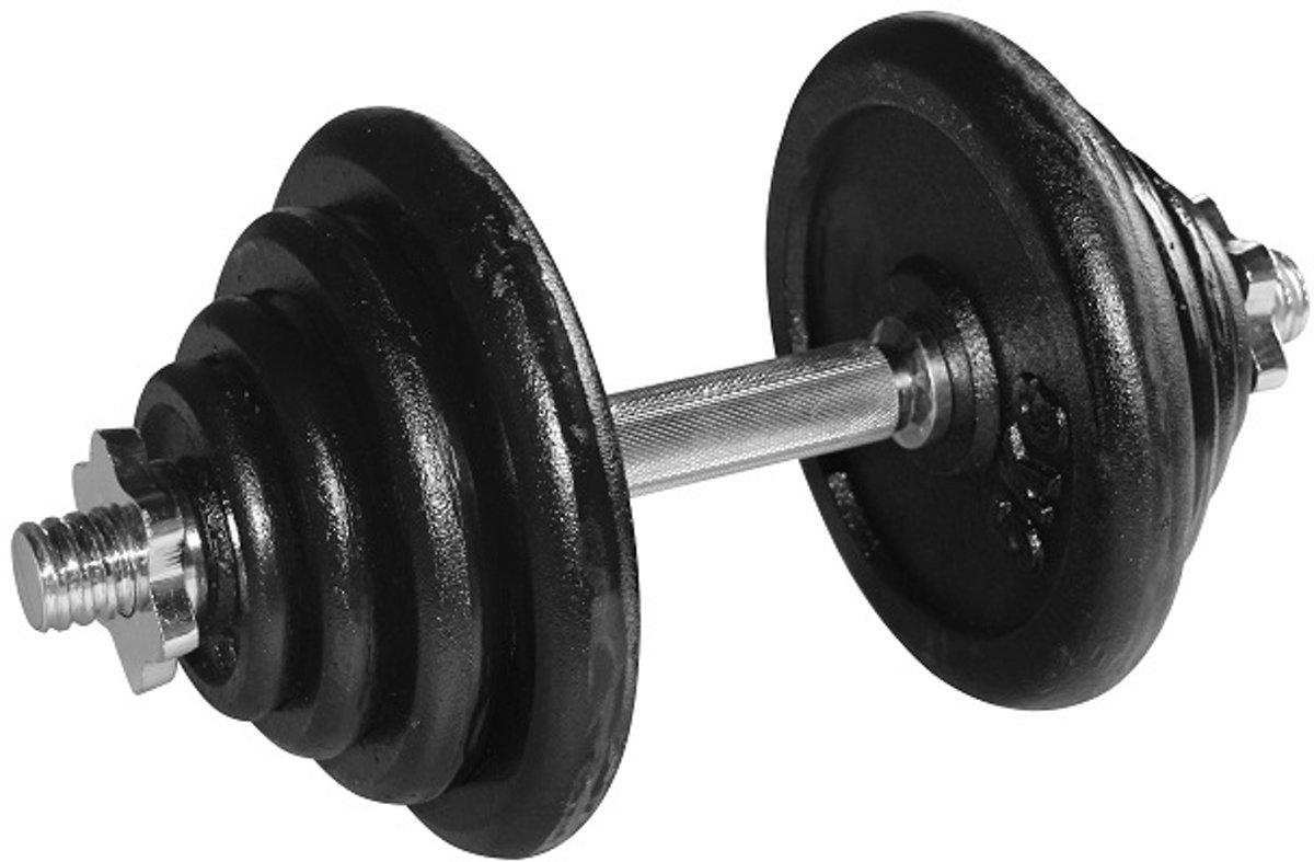 RS Sports Dumbellset – Halterset gietijzer – Totaal 20 kg – zwart / zilver kopen