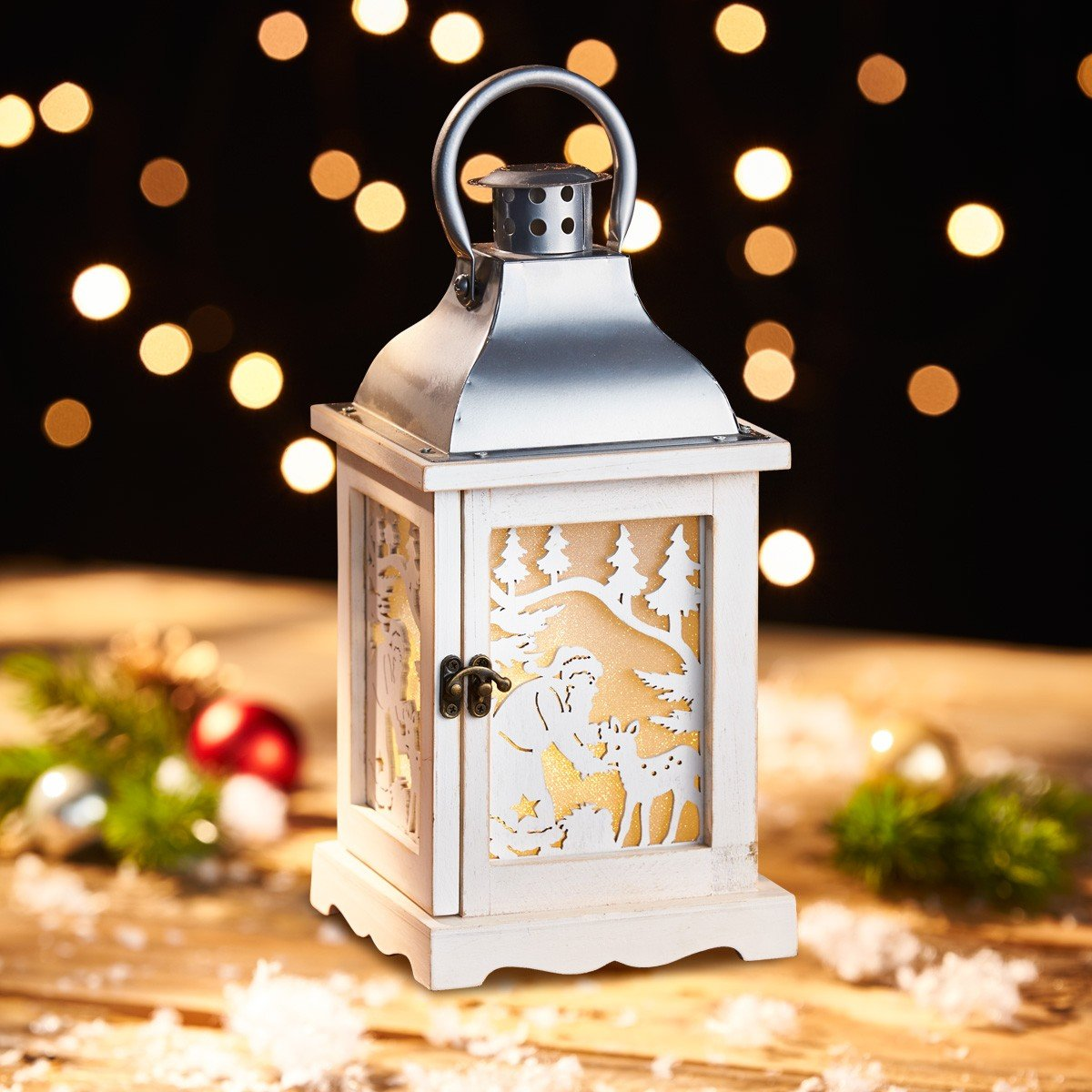 Lantaarn met leds »Glitterende kerst« kopen