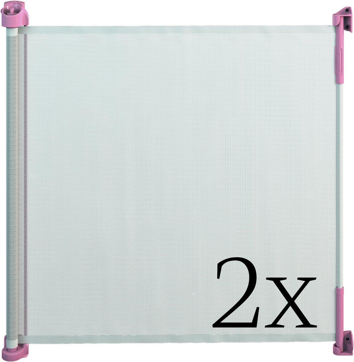 Gaterol Active Lite Roze dubbelverpakking –  Twee uittrekbare trap- en deurhekjes Rollo, tot 140 cm