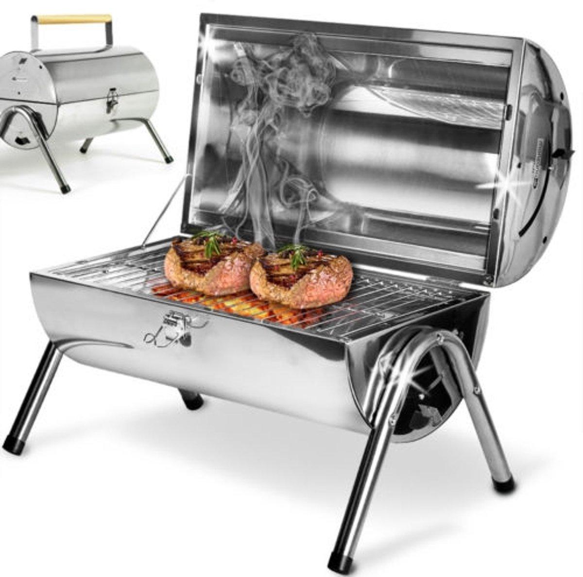 Tafel barbecue grill inox - met dubbel grill vlak - 38x52cm kopen