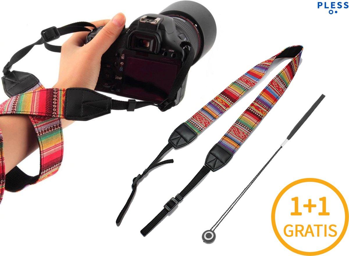 1+1 gratis Vintage Camera Strap met Lensdop Beveiliger - Hand Grip Pols Band Draagriem Riem - voor DSLR Nikon Canon Sony - Non Looser Regenboog kopen