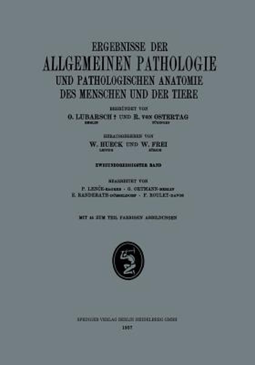 bol.com | Ergebnisse Der Allgemeinen Pathologie Und Pathologischen ...