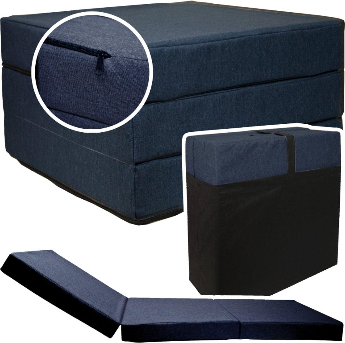 Logeermatras - navy blauw - camping matras - reismatras - opvouwbaar matras - 195 x 65 x 10