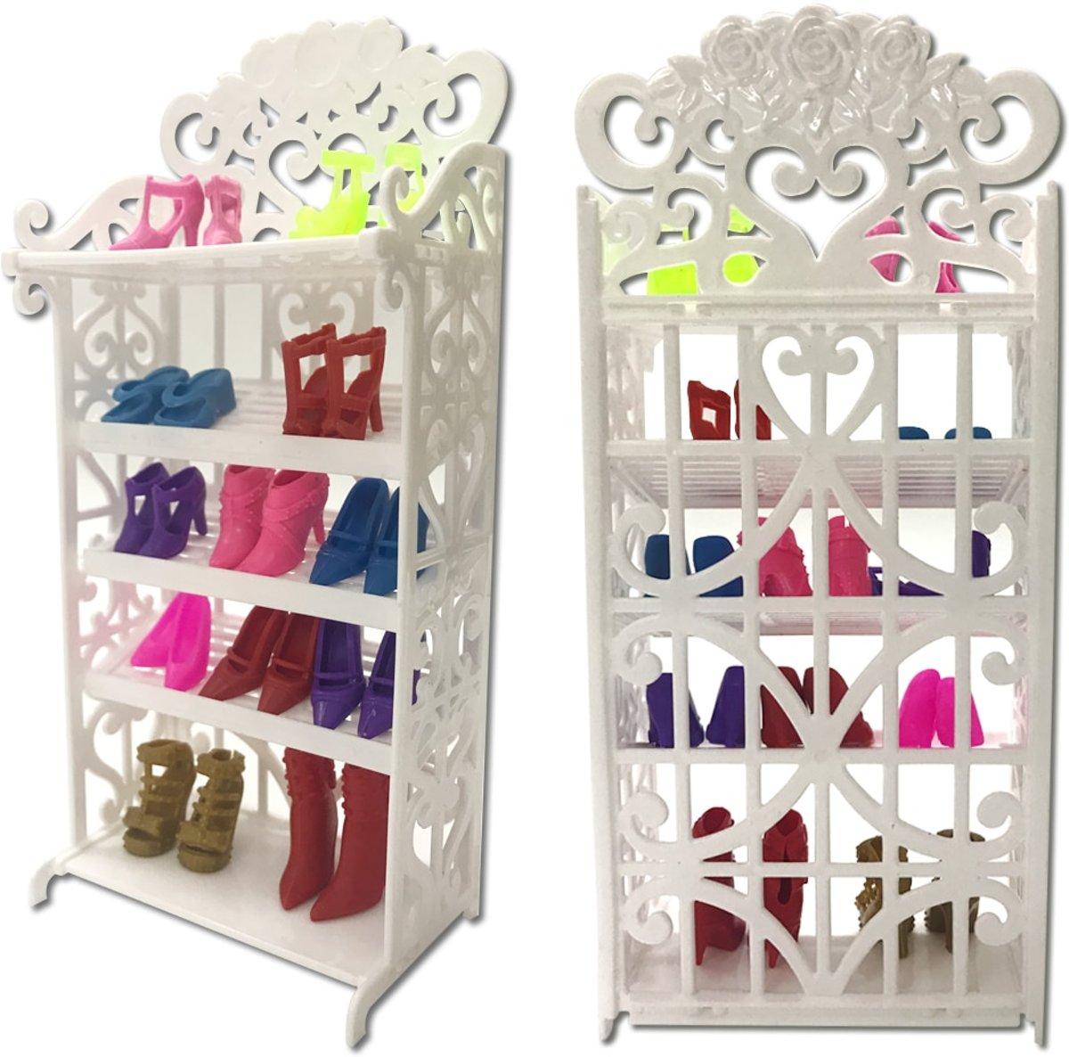 Schoenenkast voor barbieschoenen - Schoenenrek voor de schoenen van barbie en modepoppen