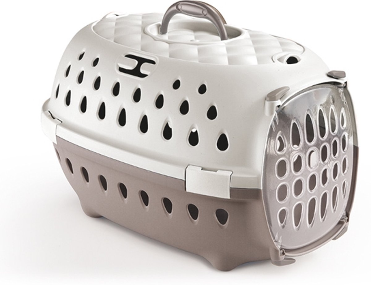 PET CARRIER TRAVEL CHIC LIGHT GREY/WHITE - 50X34.5X32CM kopen