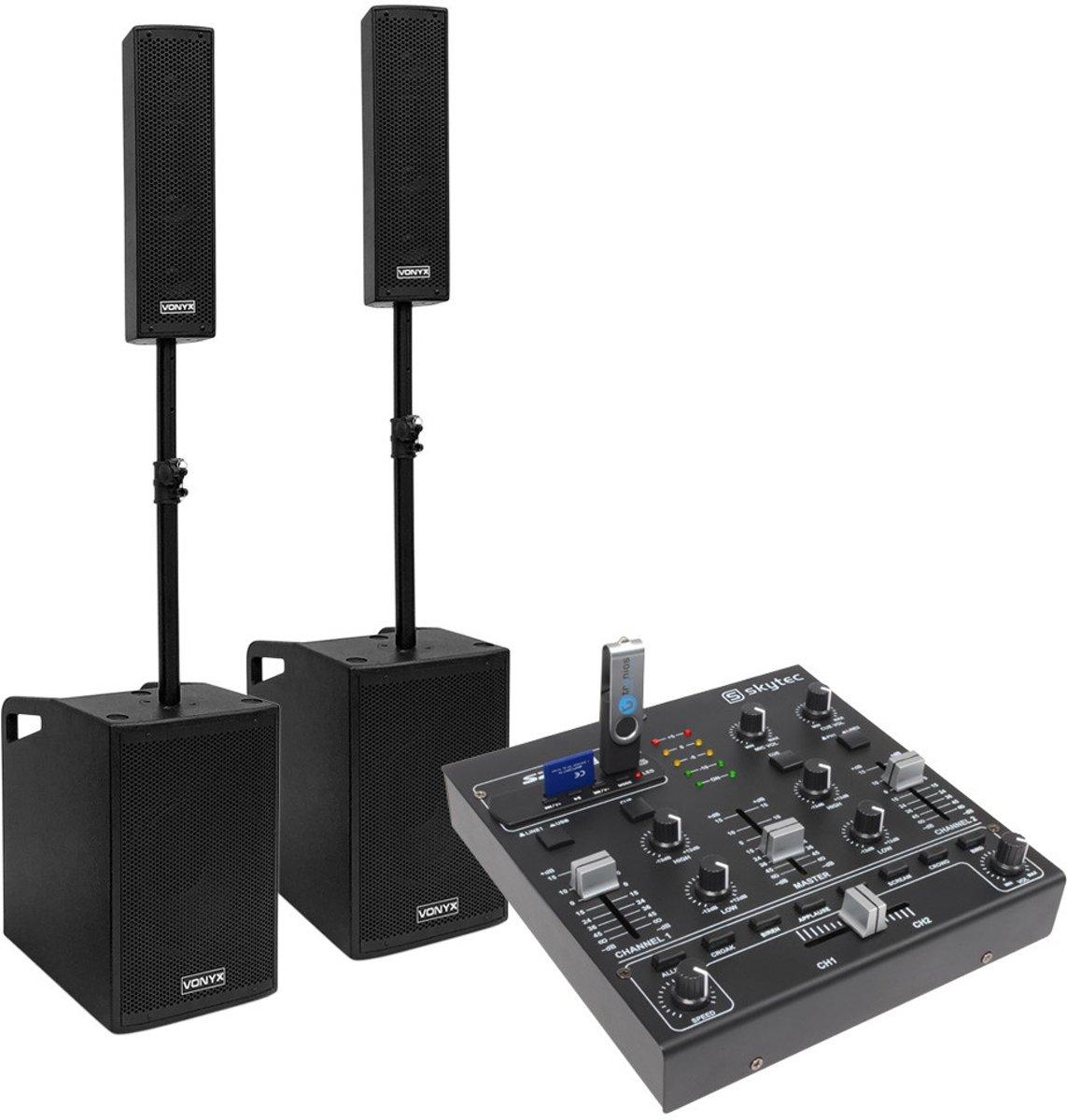 Vonyx VX1050BT geluidsinstallatie 1150W met mixer, kabels en microfoon kopen