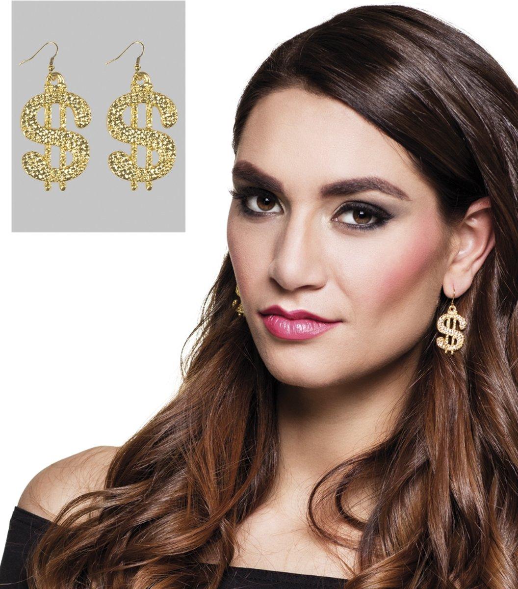Goudkleurige dollar oorbellen voor volwassenen - Verkleedattribuut kopen