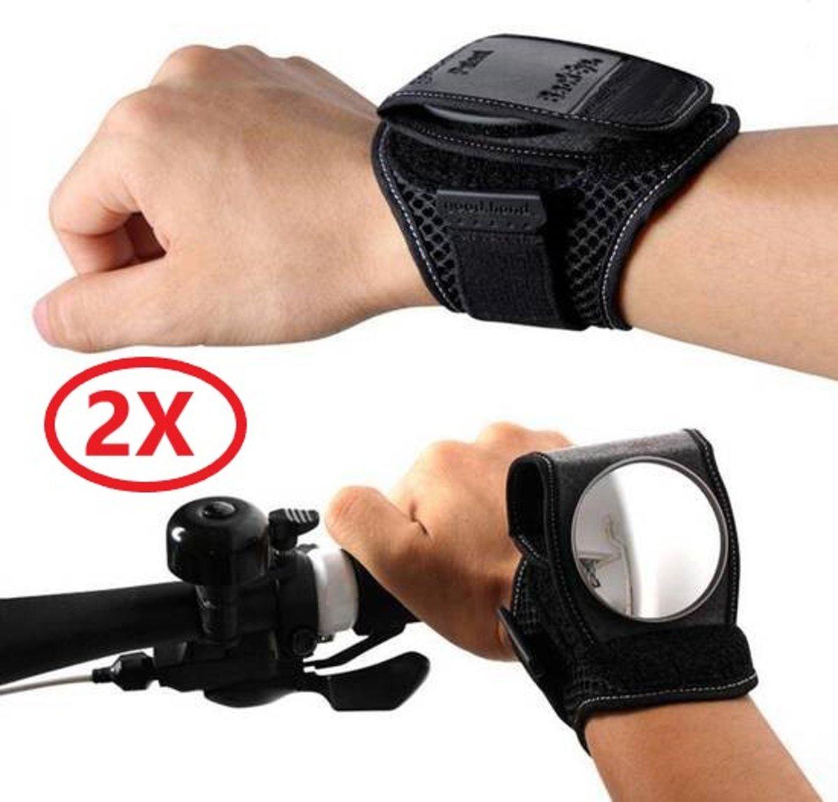 2x Fietsspiegel armband - achteruitkijkspiegel fiets - mountainbike accessoires - fietsspiegelpolsband