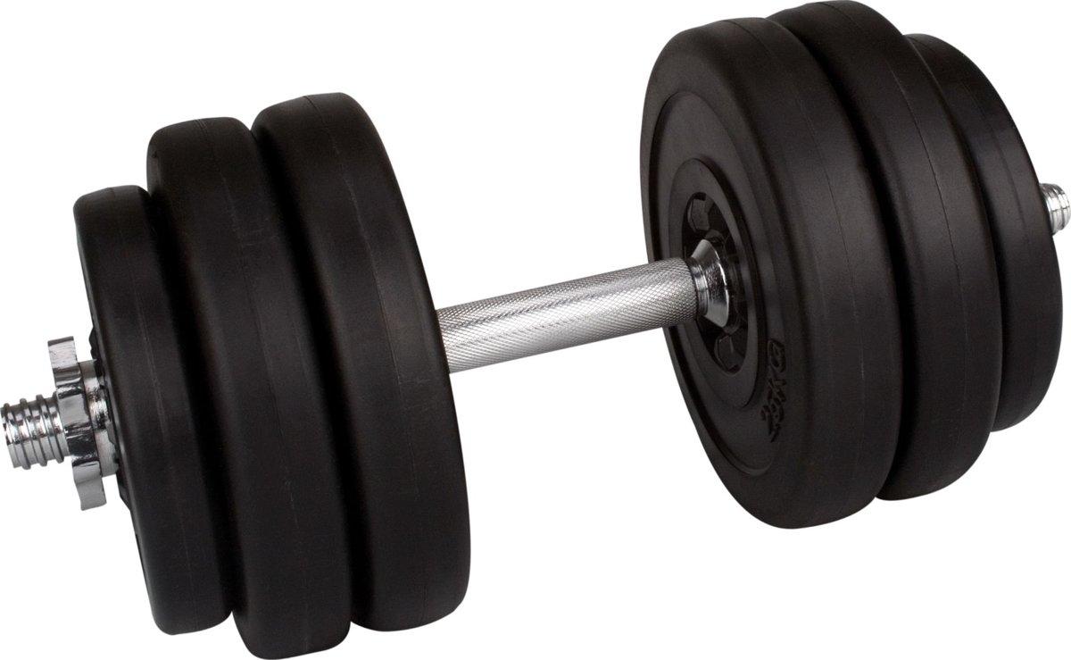 Avento Halter 15 Kg - Plastic Gewichten - Zwart/Chroom kopen