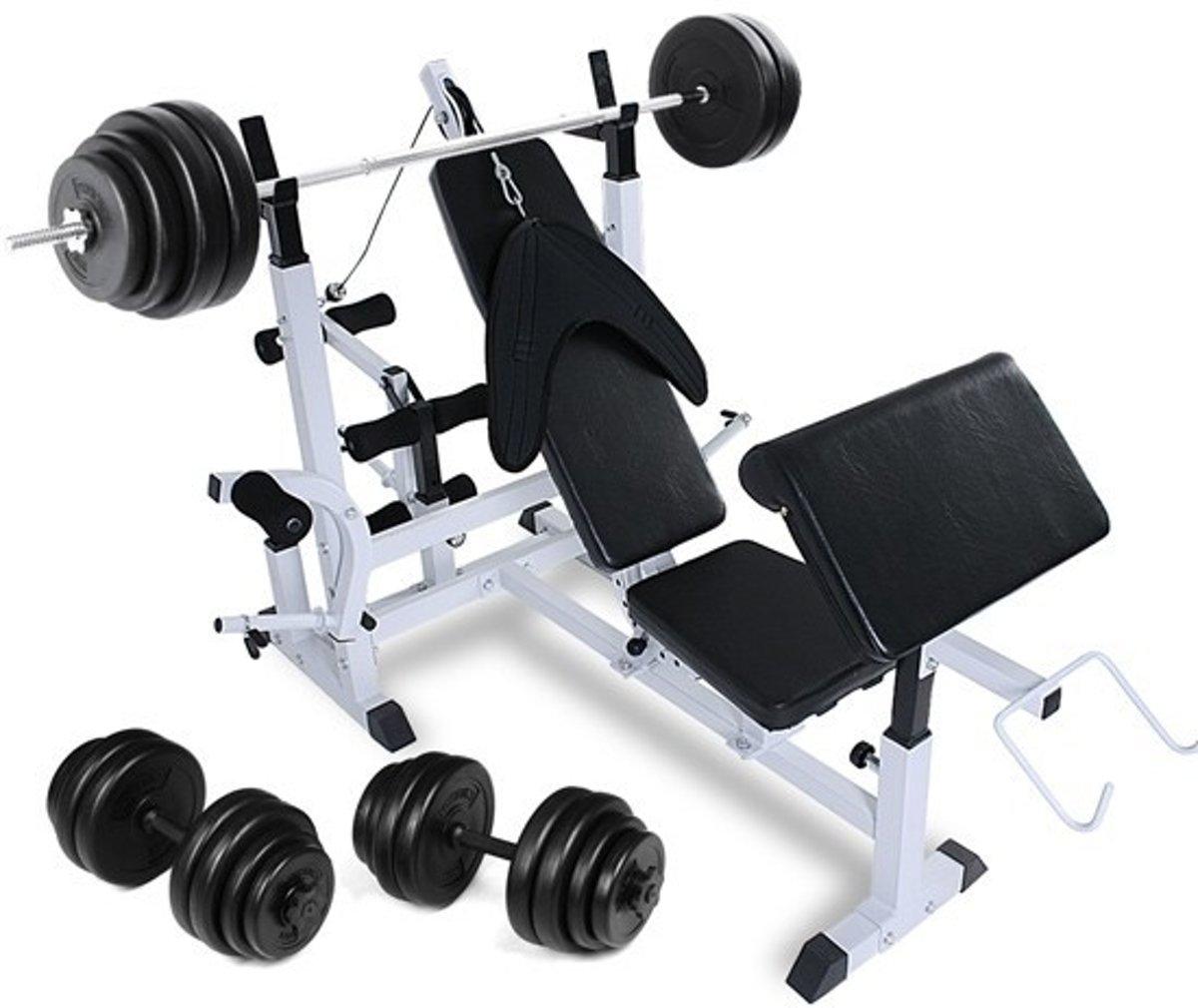 Multifuncitoneel fitnessbank compleet - halterstang - Dumbells - Gewichten - 101 - 5 kG kopen