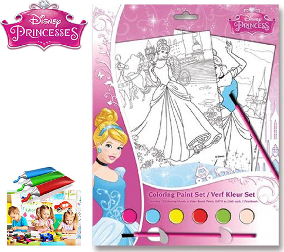 Disney Princess Verf Kleur Set - Inclusief 6 Potjes Verf + 1 Kwast kopen