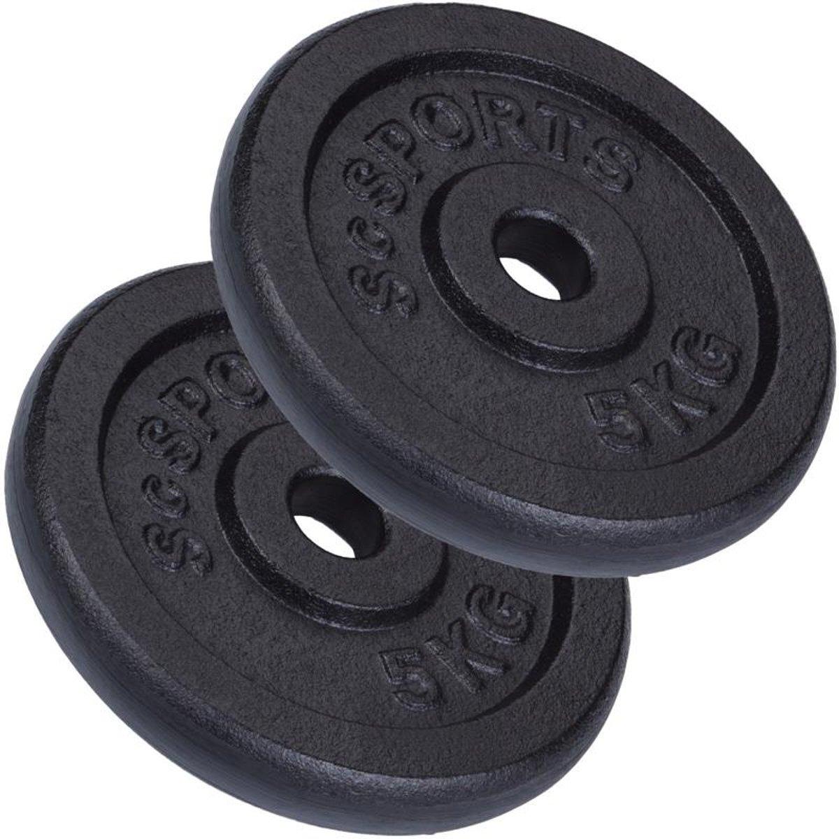 ScSPORTS® 10 kg Halterschijvenset gietijzer 30 mm 2x5 kg kopen