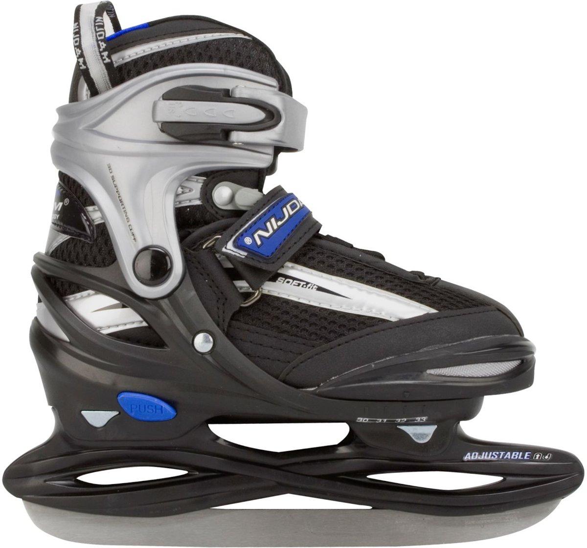 Nijdam 3172 Junior IJshockeyschaats - Verstelbaar - Semi-Softboot - Grijs/Zwart - Maat 34-37