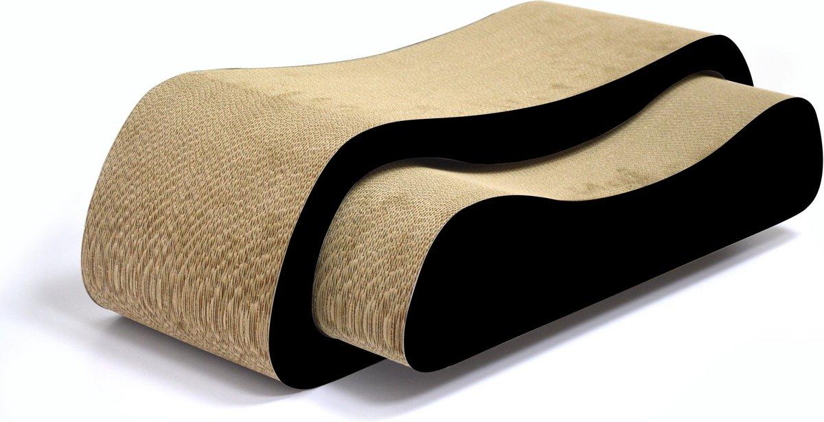 4animalz Duo Black - kartonnen krabpaal voor katten - 74x24x21,5cm