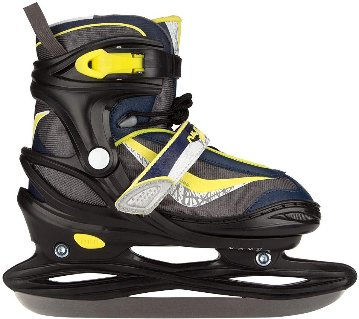 Nijdam 3177 Junior IJshockeyschaats Junior Verstelbaar - Semi-Softboot - Antraciet/Marine/Fluorgeel - 38-41