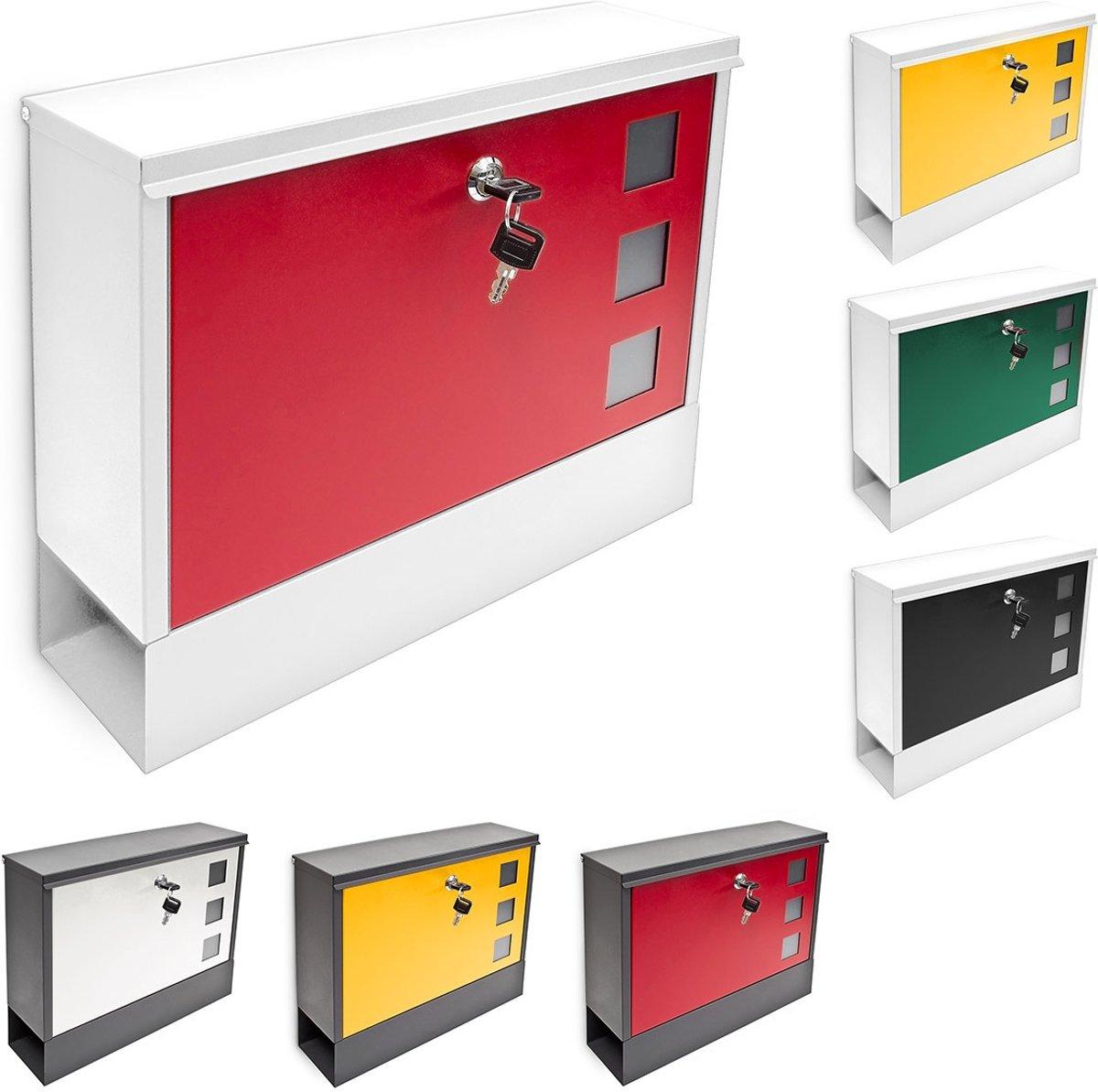 relaxdays Afsluitbare, moderne brievenbus + krantenvak - Keuze uit verschillende kleuren.