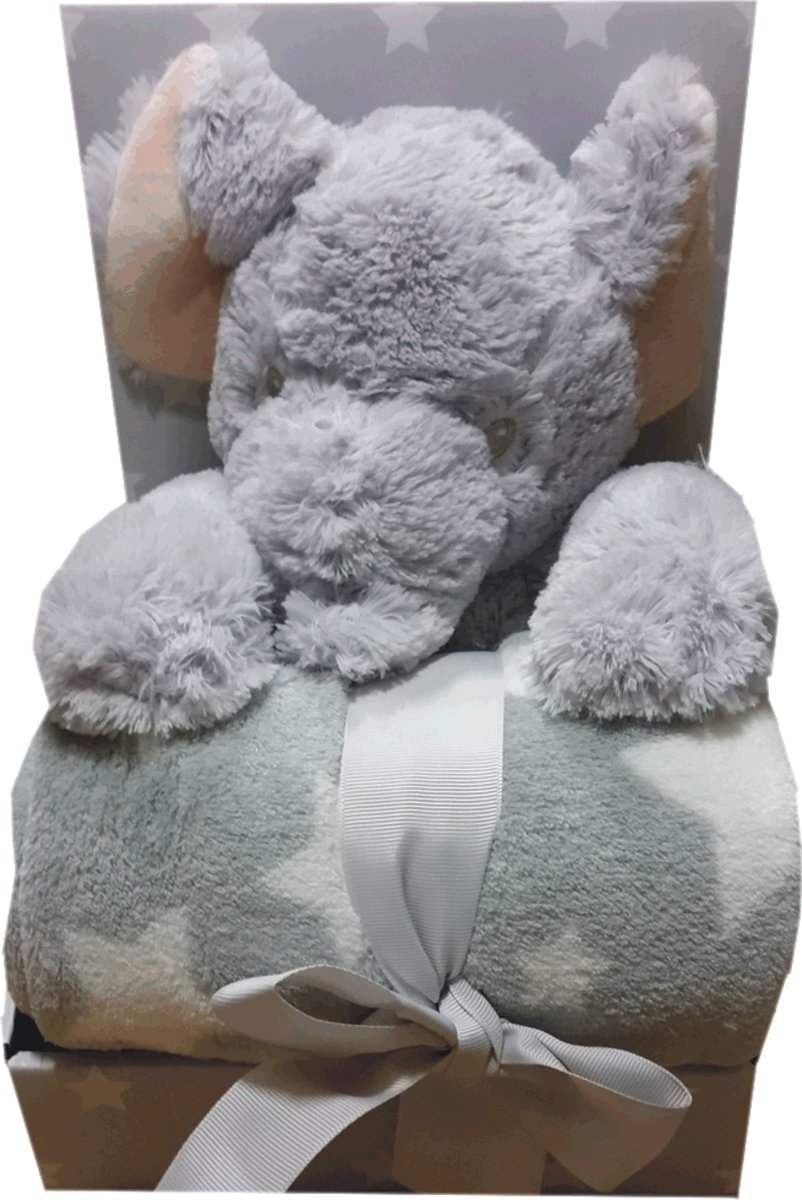 Knuffel Olifant plus plaid ledikant formaat