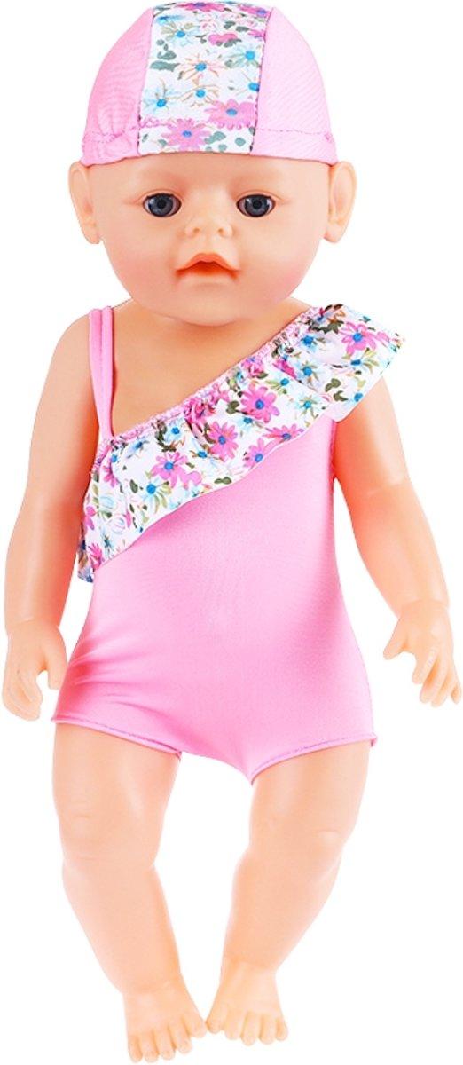 6d49f74920838d Poppenkleertjes voor babypop - Roze badpak met badmuts - zwemkleding voor Baby  Born pop