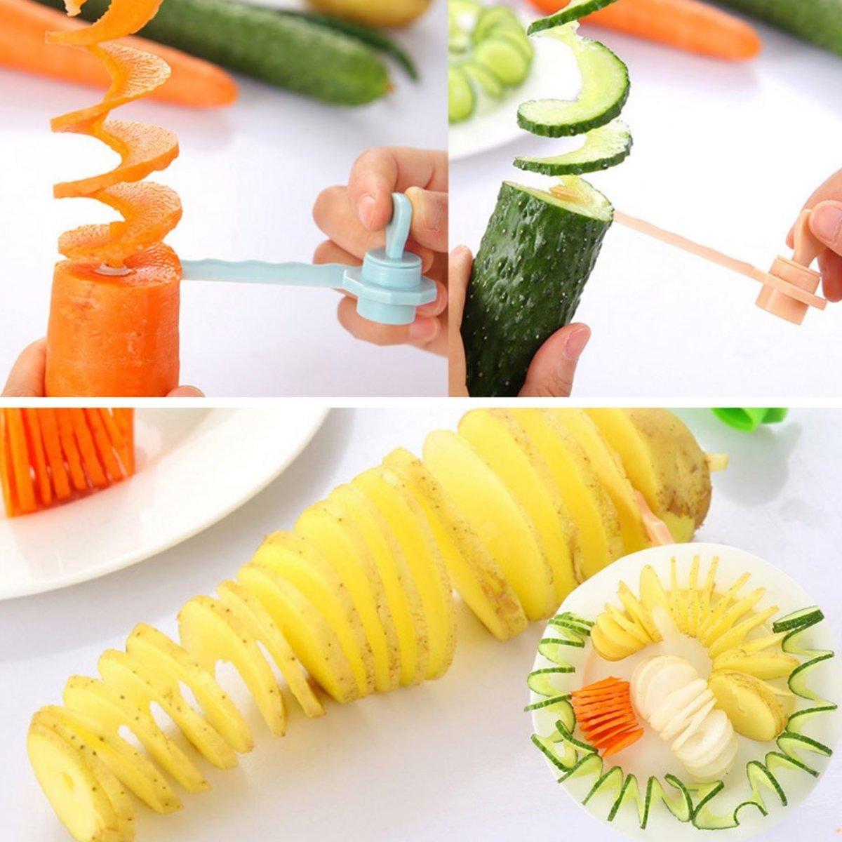 Aardappel Slicer Blauw Spirello / Aardappel twister Spiraal snijder Groente Fruit kopen