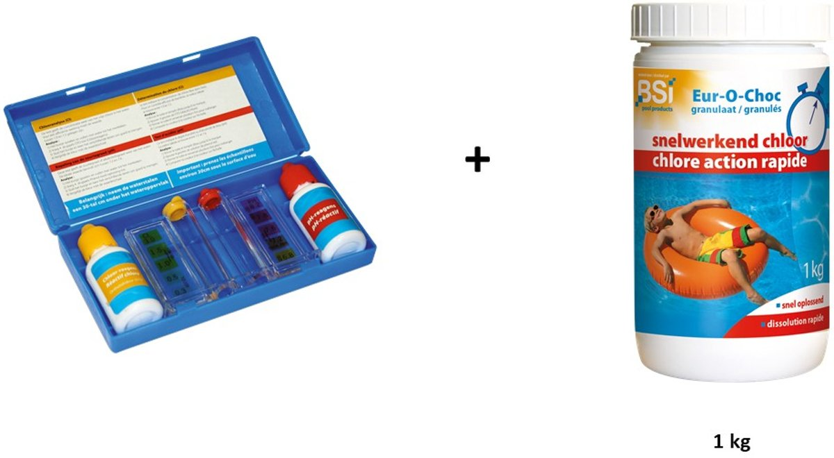 Zwembad chloor kit: Test kit + snelwerkend chloor 1kg (poeder)
