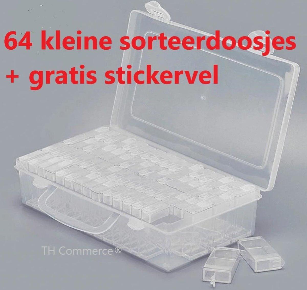 Diamond Painting Sorteerdoos  - sorteer doos - opbergdoos - hobby en bewaar doos TH Commerce® - met 64 doosjes en gratis sticker vel nr 7068 kopen