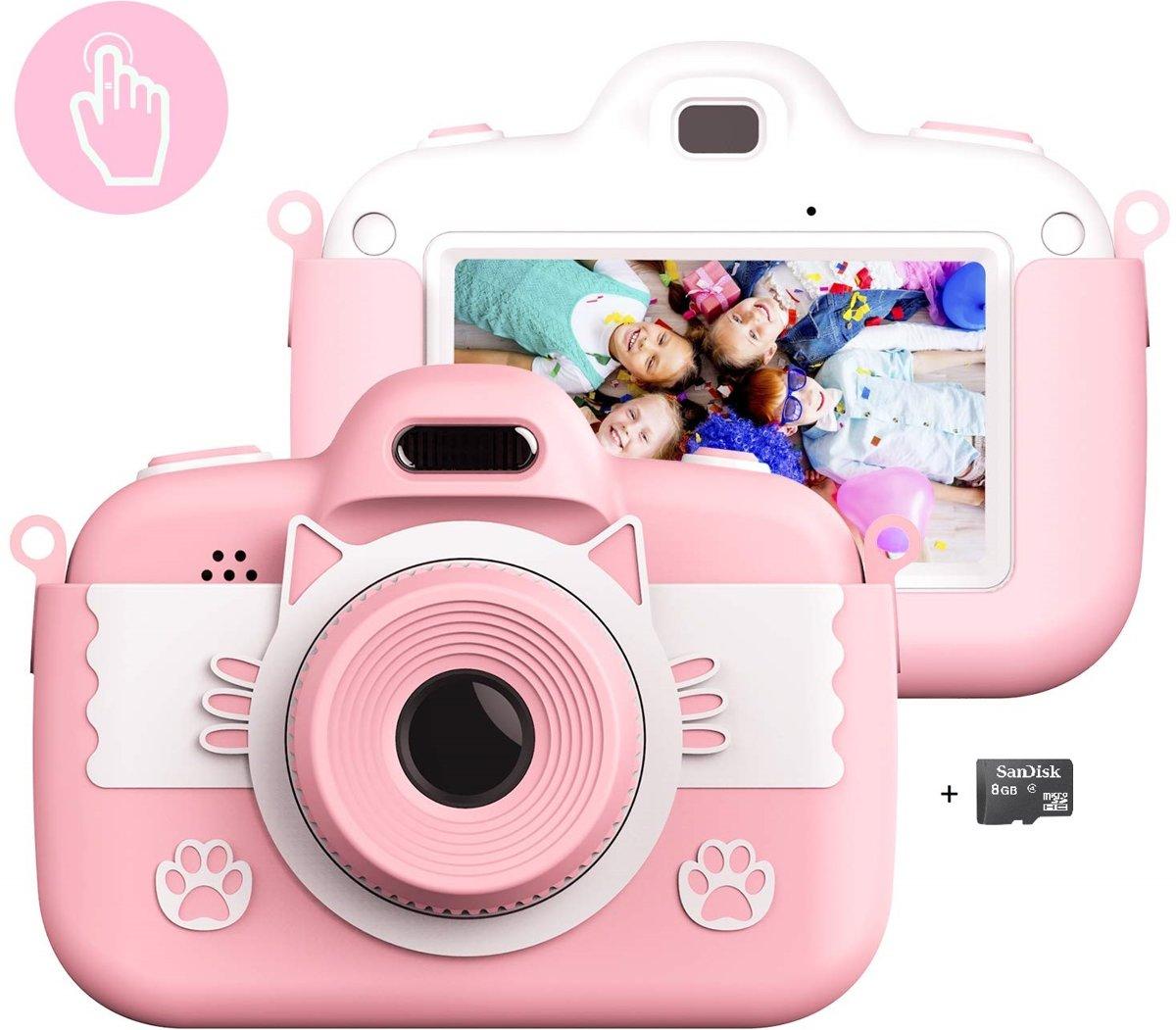 J.C. Toys | C4 | Kindercamera | 28.0 MP | Voor- en achtercamera | Autofocus | Touchscreen | Full HD 1080P | Roze + 8GB SD kaart
