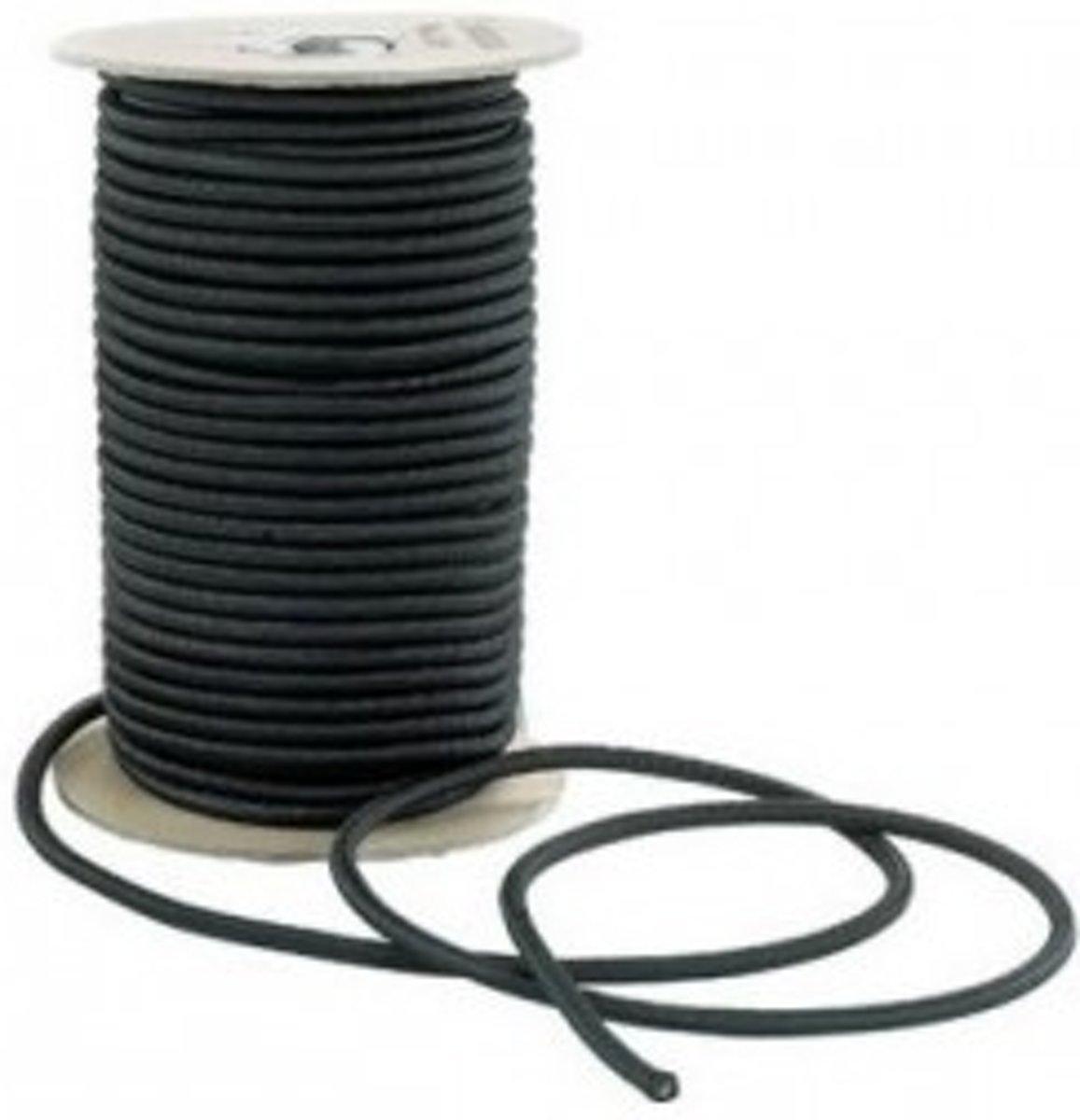 50 meter Elastisch Touw - 6mm - ZWART - elastiek op rol kopen