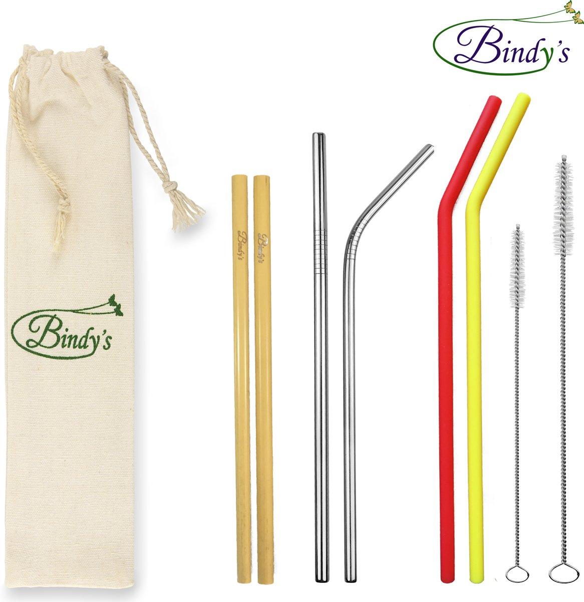 Bindy's - 9-Delige Set Herbruikbare Rietjes Mix – Familie Verpakking - 2 RVS Rietjes - 2 Bamboe Rietjes – 2 Siliconen Rietjes - incl. 2 Schoonmaakborsteltjes En Linnen Bewaarzakje