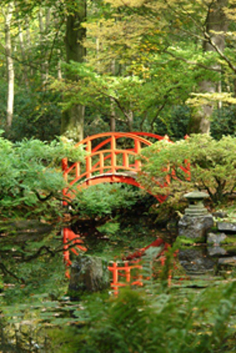 Muurposter Japanse tuin