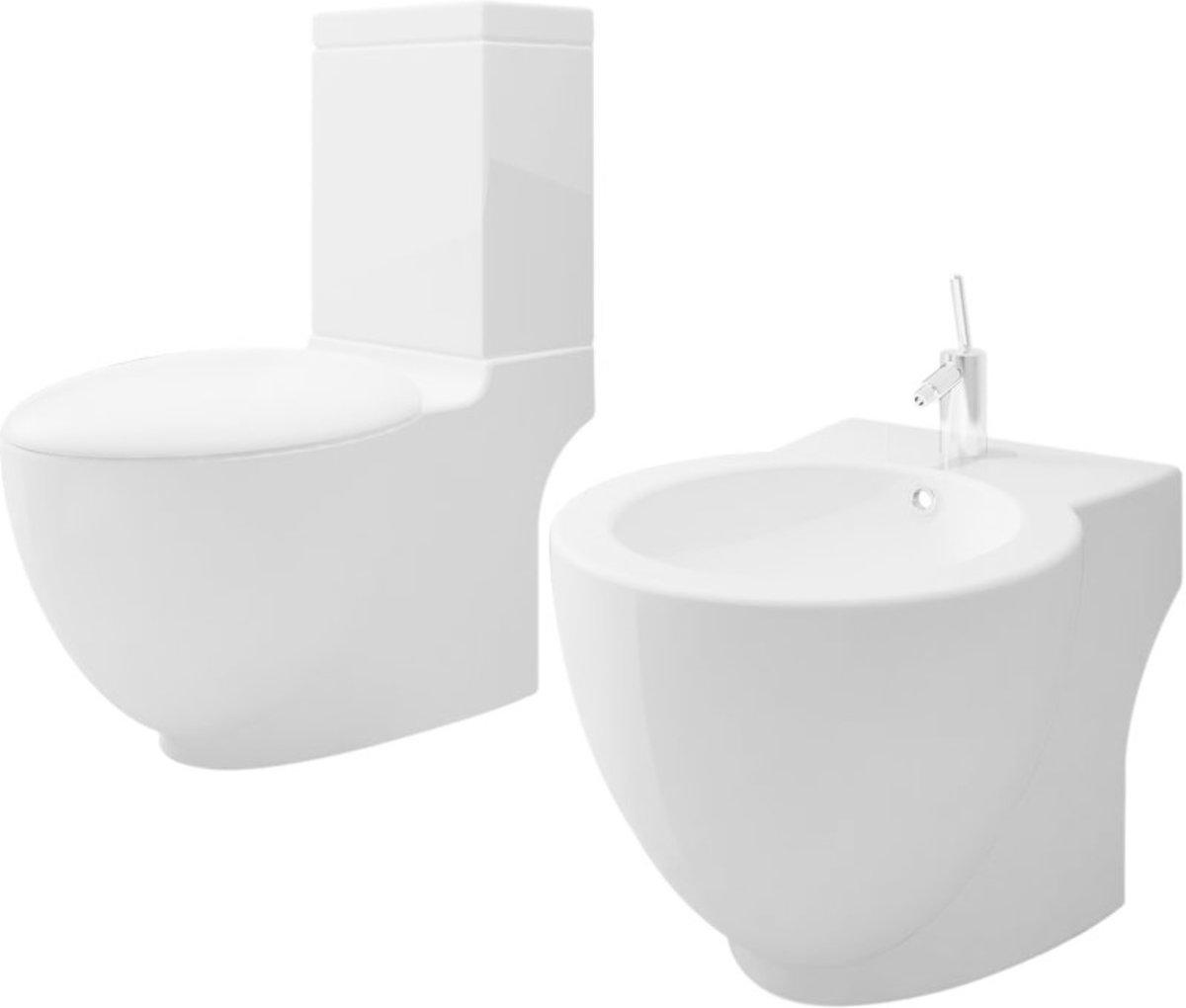 Keramisch Toilet Rond wit + Bidet kopen