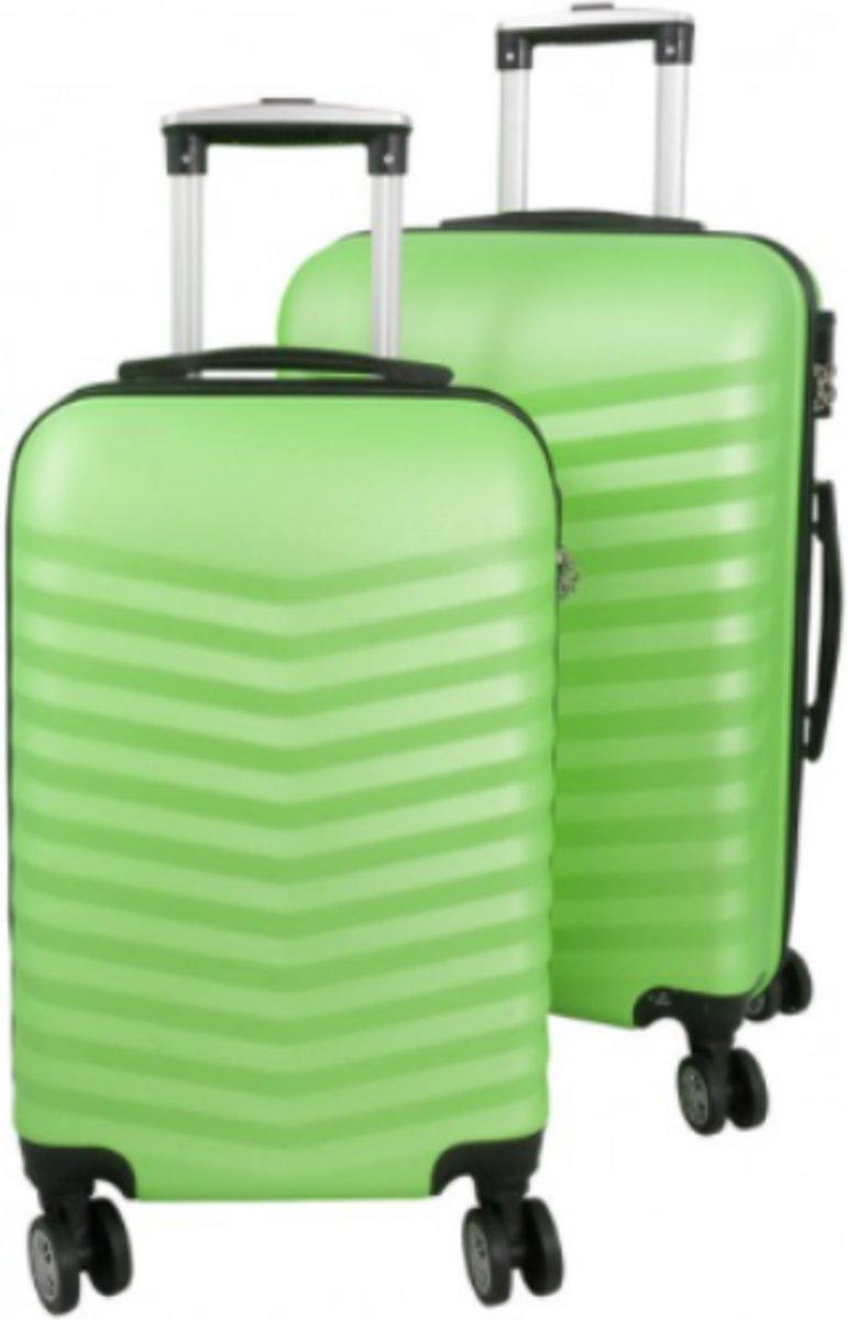 2 delig reiskoffer set Travelsuitcase groen met 3D structuur kopen