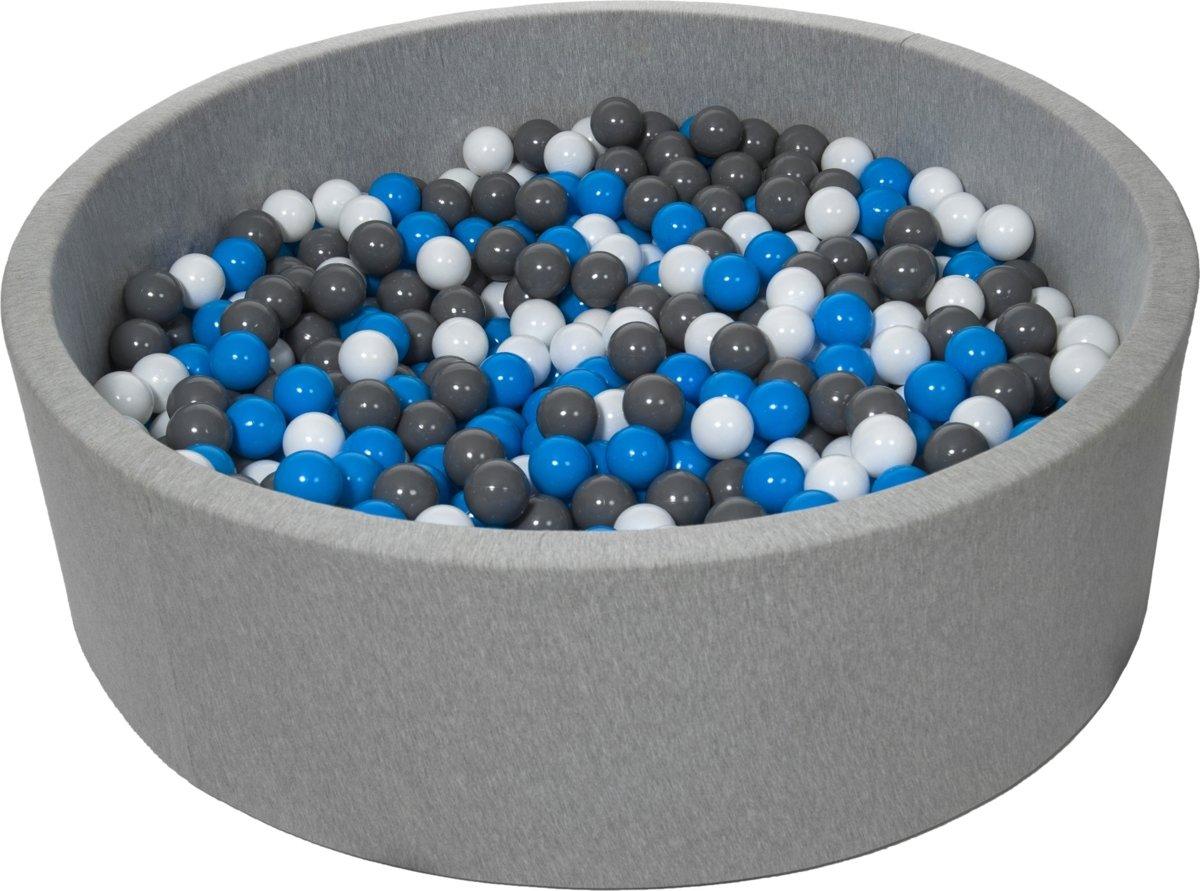 Zachte Jersey baby kinderen Ballenbak met 900 ballen, diameter 125 cm - wit, blauw, grijs