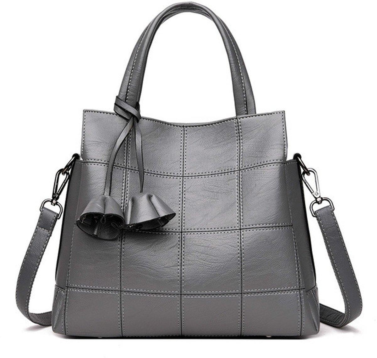 Lederen luxe vrouwen grote capaciteit handtassen schoudertas Cross Body Tas (lichtgrijs)