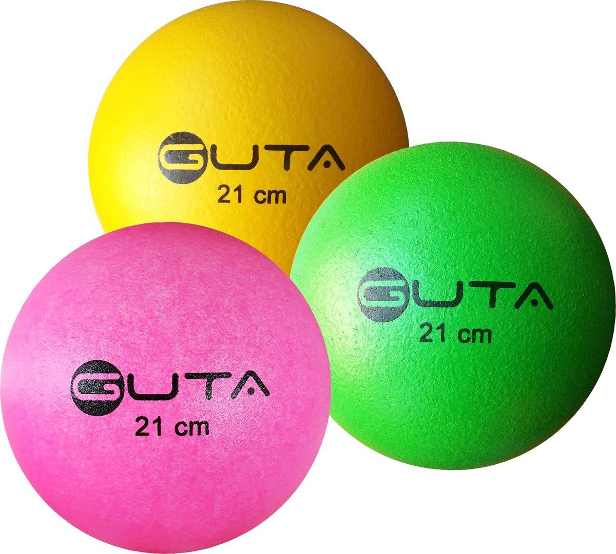 Set van Drie Guta Trefballen | Foambal Olifantenhuid 21 cm  Geel, Groen en Roze kopen