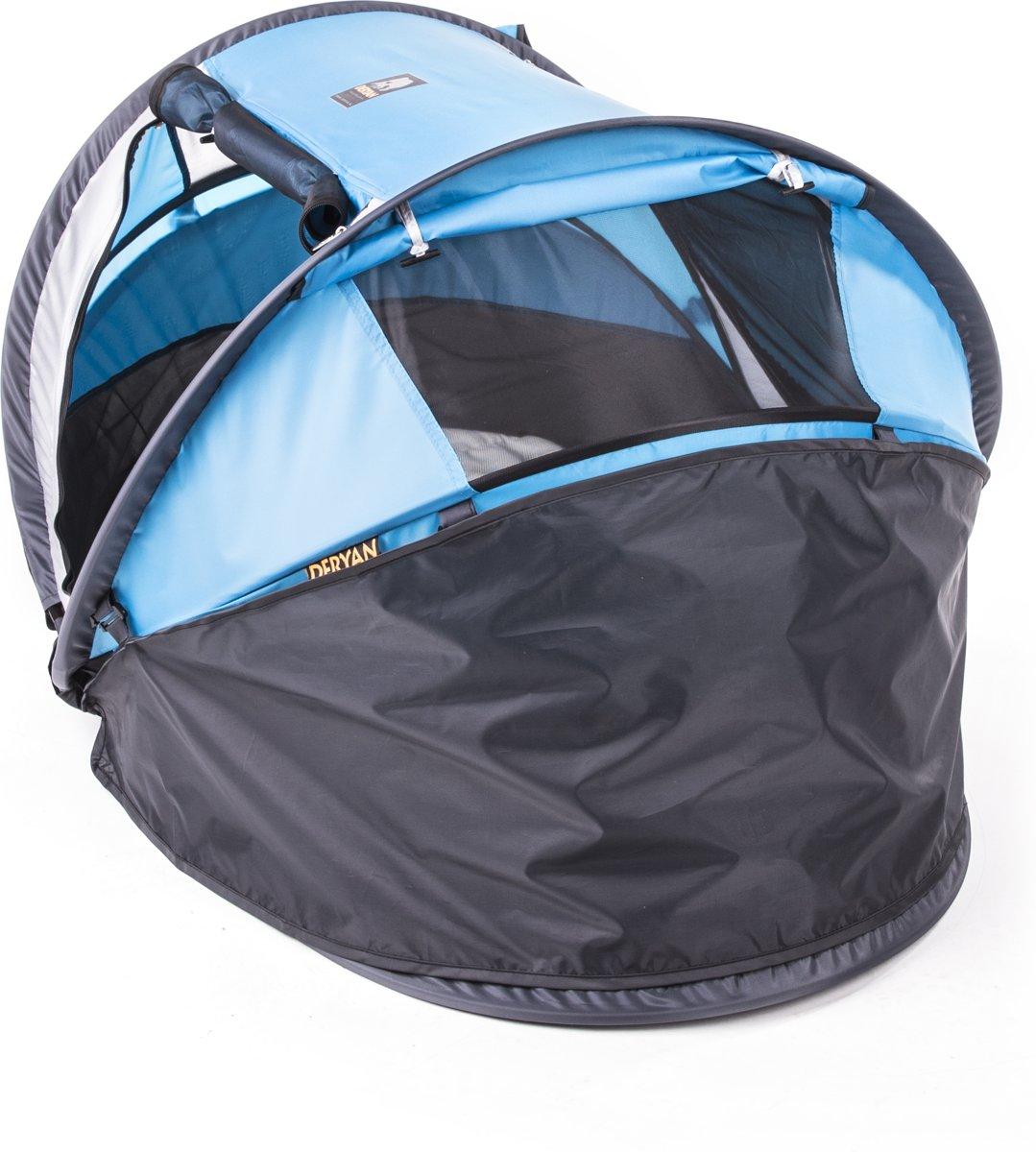Deryan Peuter Campingbedje.Overige Deryan Travel Cot Peuter Luxe Blauw Tropicalweather
