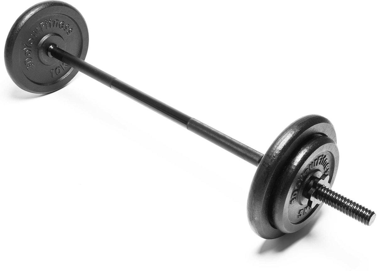 #DoYourFitness - Lange halterstang 117cm - stervormige schroefsluiting- 100% gietijzer - 30/31mm boring - incl. halterschijven 2x10kg + 2x5kg kopen
