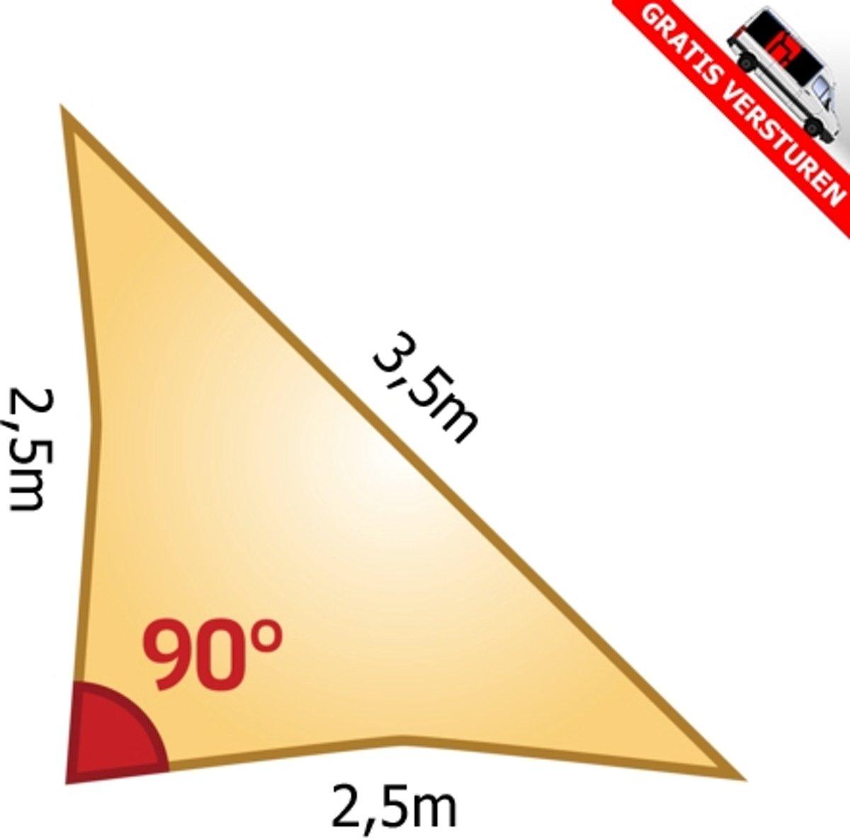 Schaduwdoek 2 5x2 5.Bol Com Zonnedoek 90 Driehoek 2 5x2 5x3 5m Terra