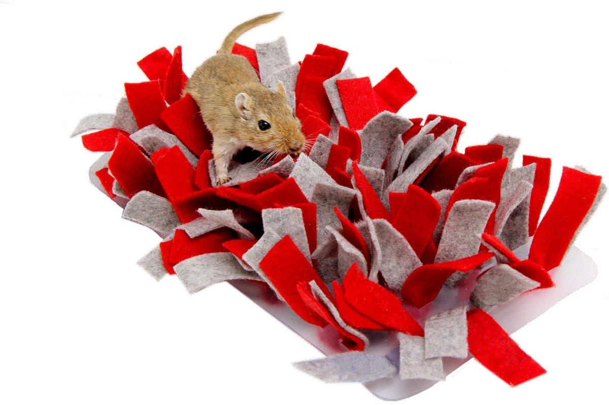 Bunny nature snuffelmat vilt rood / grijs 28x15x5 cm