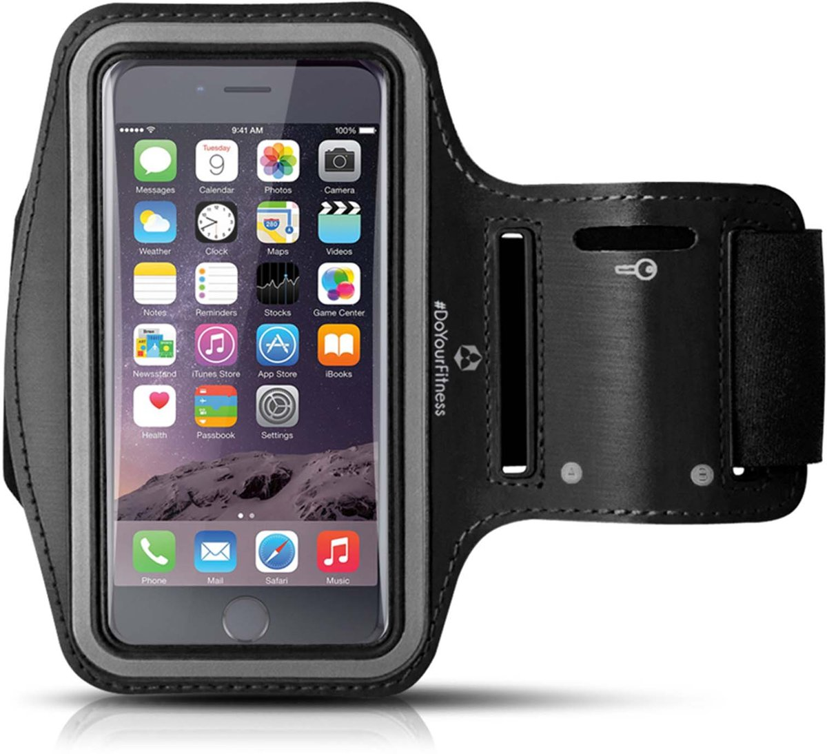 #DoYourFitness - Sportarmband - »RunnerMan« - Hardlooparmband voor telefoon - SMALL 60 cm - zwart kopen