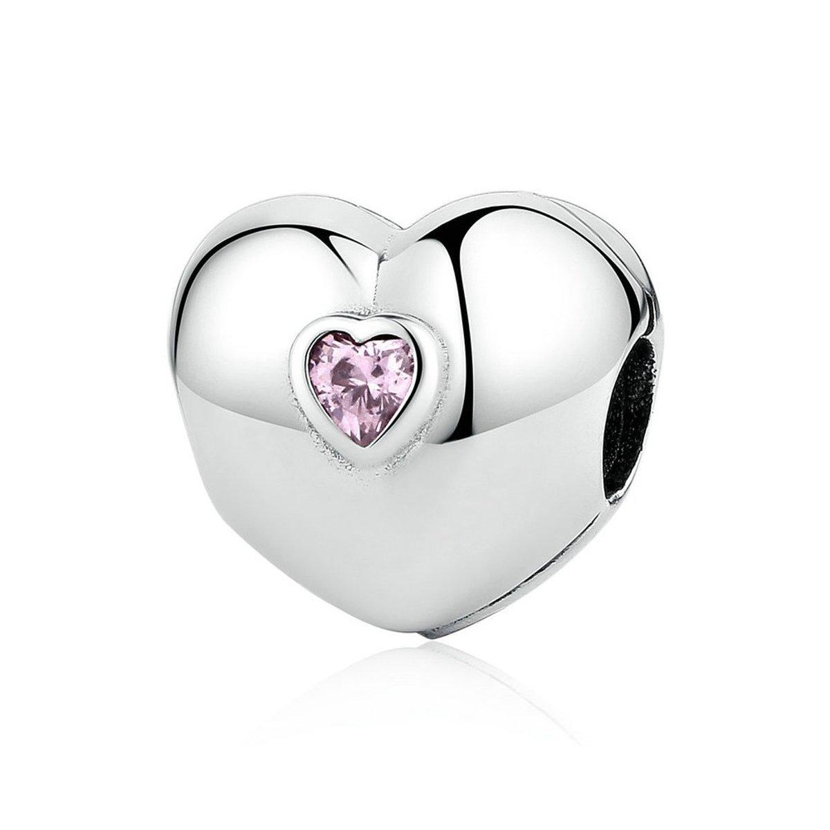 Zilveren clip Hart met roze zirconia kopen