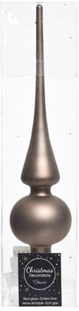 Kasjmier bruin glazen piek mat 26 cm - Kasjmier bruine kerstboom versieringen kopen