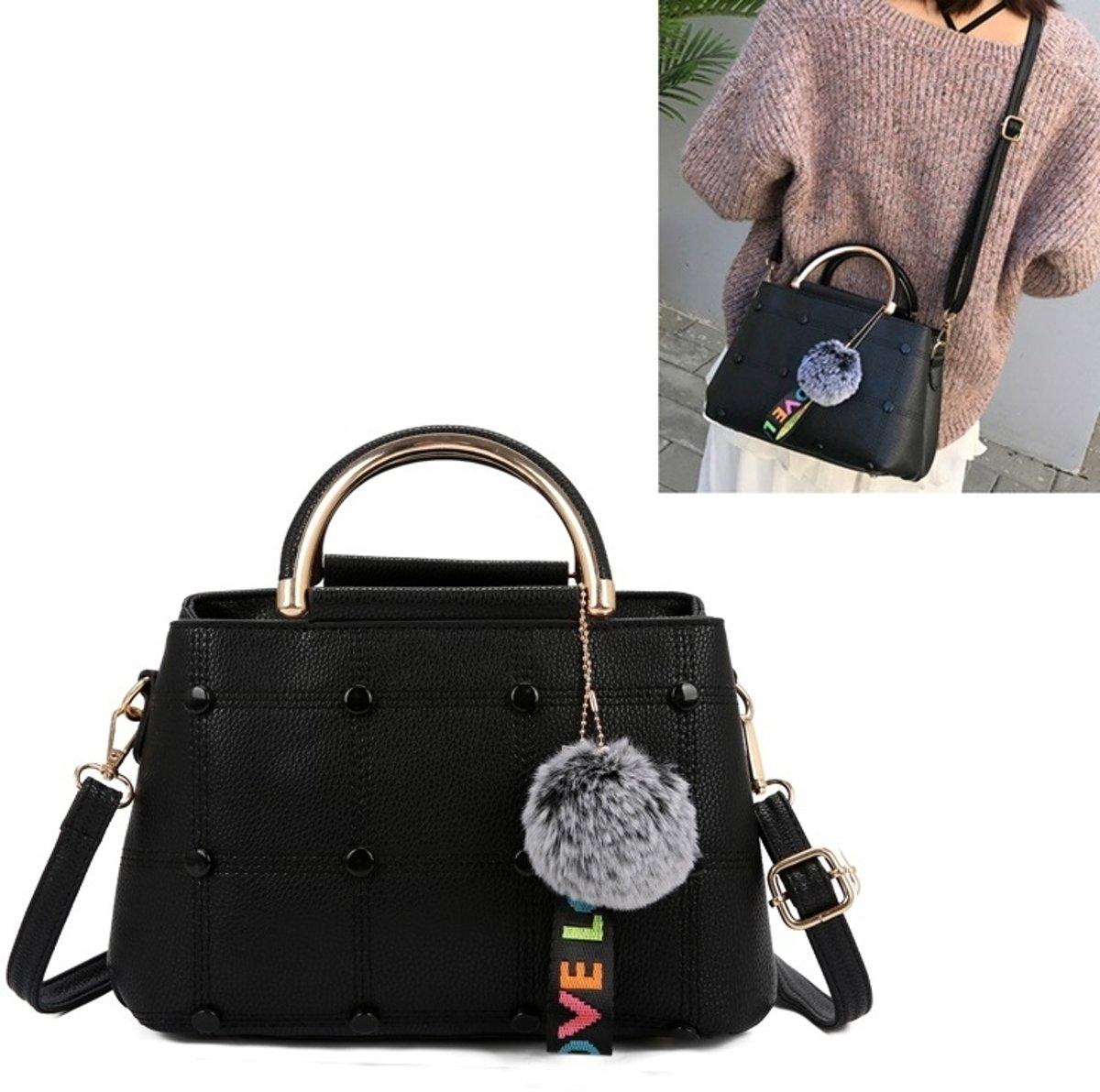 Klein vierkant tas haarbal hanger Casual enkele schouders tas dames handtas messengertas (zwart)