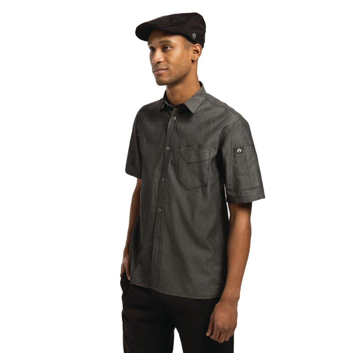Unisex Detroit Zwart denim shirts (S) kopen