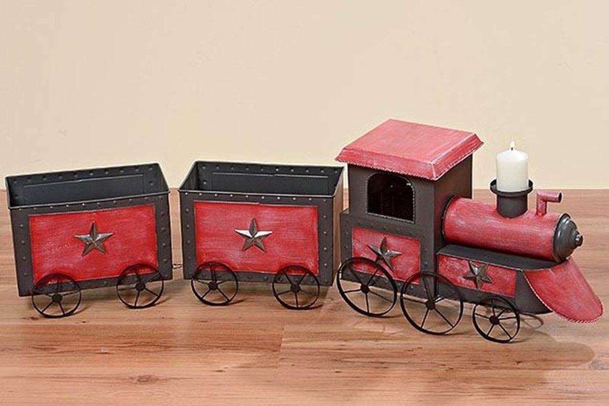 Trein - Kerst - 3 delig - 120 cm - Rood - Zwart - Zilver kopen