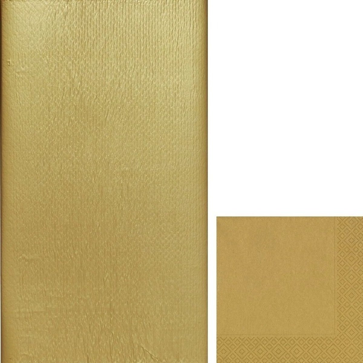 Gouden tafeldecoratie set tafelkleed/servetten - Thema goud - Papieren tafeldecoraties/versieringen