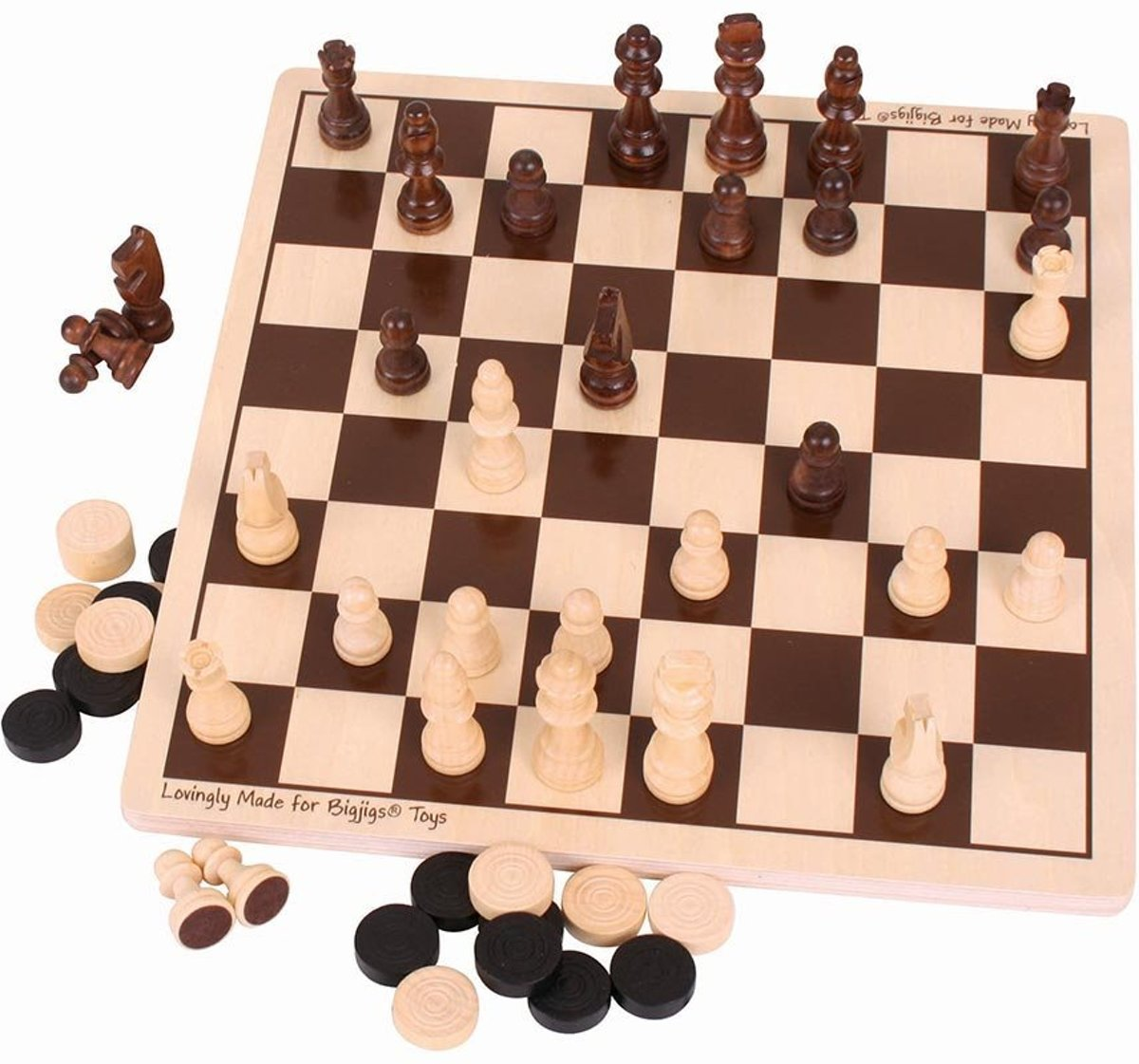 Bigjigs - Dammen & schaken set