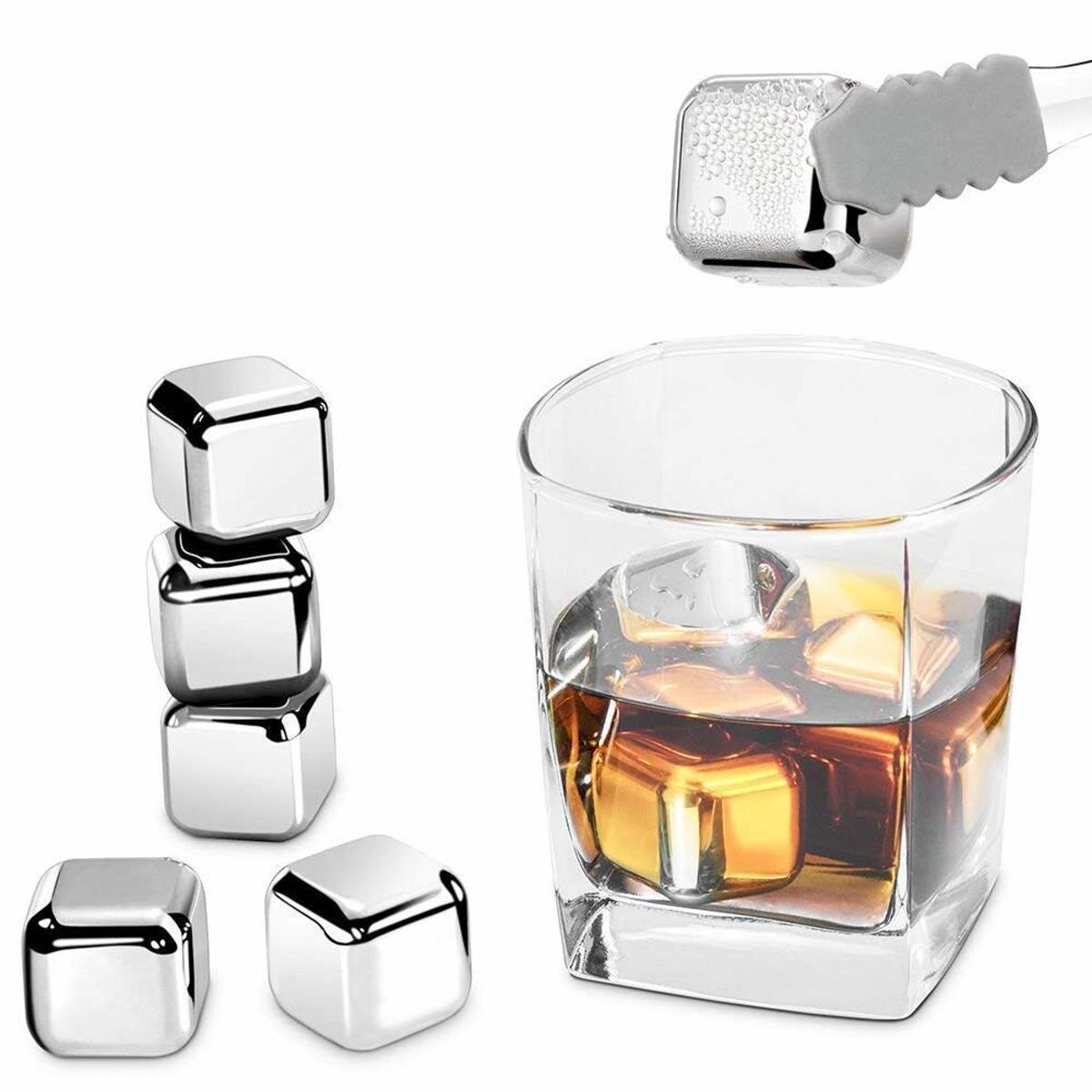 RVS ijsblokjes - set van 6 - whiskey whiskeystones en likeur - ijsblokjes staal kopen