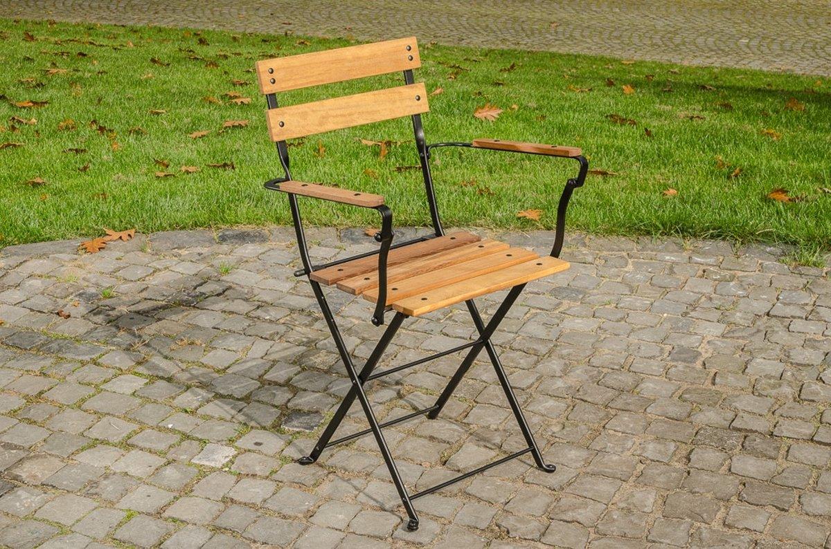 Clp Romantische klapstoel RAYA gemaakt van gegalvaniseerd ijzer en hoogwaardig teak, in nostalgisch design, tuinstoel, bistrostoel, balkonstoel, terra