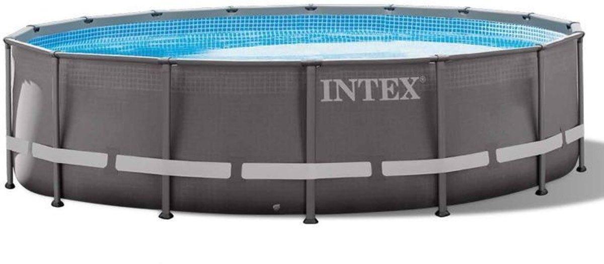 Intex Ultra Frame Opzetzwembad Met Accessoires 488 X 122 Cm Grijs
